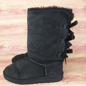 UGG Bailey Black Bow Tall Winter Snow Boots 6